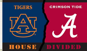 Auburn University / University of Alabama House Divided 3x5ft Flag