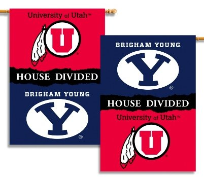 Brigham Young University / University of Utah House Divided House Flag 2 Sided