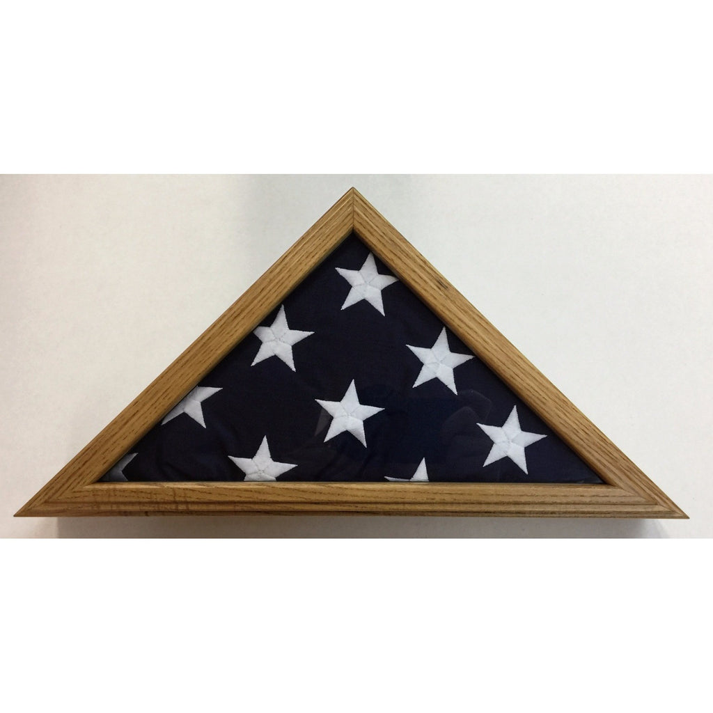 Triangle Wood Display Case for 3x5ft Flag - Oak - FlagsOnline.com by CRW Flags Inc. - 1