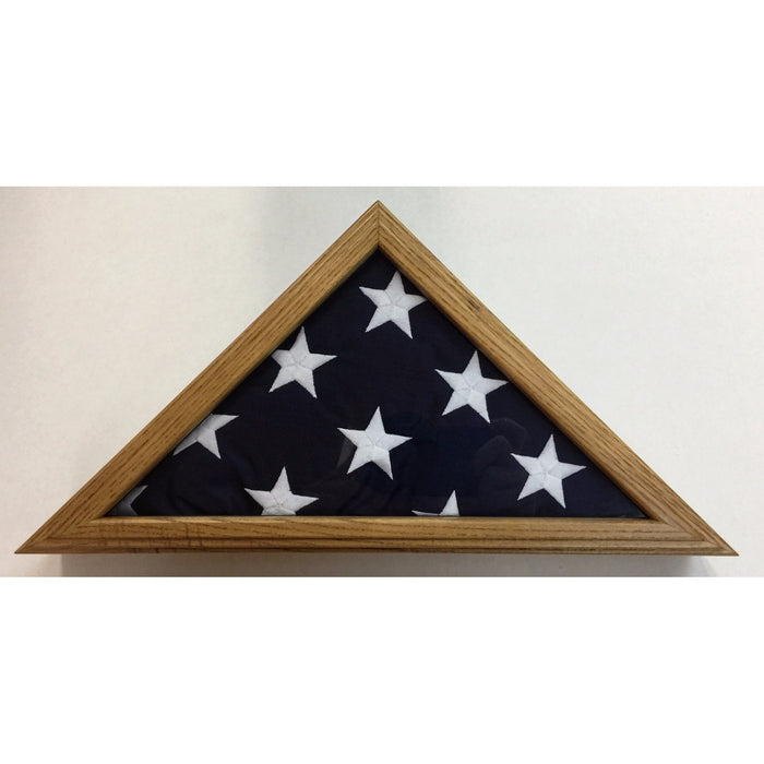 Triangle Wood Display Case for 3x5ft Flag - Oak