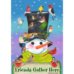 Friends Gather Here Winter - House Flag - FlagsOnline.com by CRW Flags Inc.