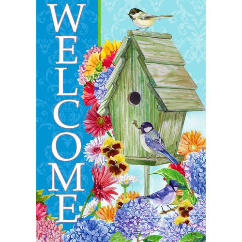 Welcome Birdhouse - House Flag - FlagsOnline.com by CRW Flags Inc.
