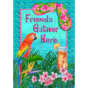 Friends Gather Here Summer - House Flag - FlagsOnline.com by CRW Flags Inc.