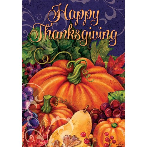 Thanksgiving Pumpkin  - House Flag - FlagsOnline.com by CRW Flags Inc.