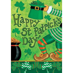Leprechaun Greetings - Garden Flag