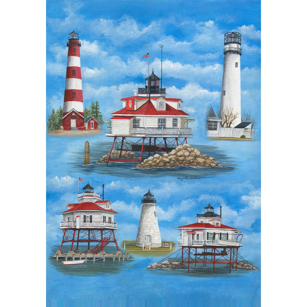 DelMarVa Lighthouses - Garden Flag - FlagsOnline.com by CRW Flags Inc.