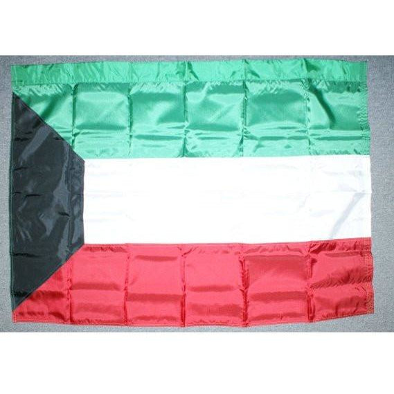 Kuwait 3x5' Nylon Flag with pole sleeve on 5' top side