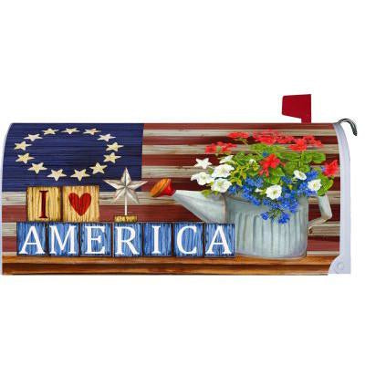 I Love America Standard Mailbox Cover - FlagsOnline.com by CRW Flags Inc.