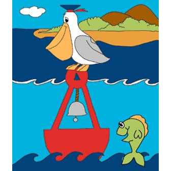 Pelican On Buoy - House Flag - FlagsOnline.com by CRW Flags Inc.