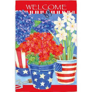 Patriotic Floral Welcome - House Flag - FlagsOnline.com by CRW Flags Inc.