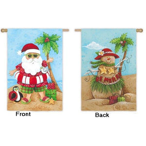 Sandy Santa and Snowman - House Flag