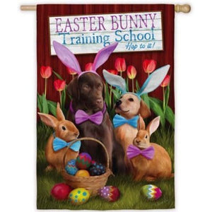 Easter Bunny Training School - House Flag - FlagsOnline.com by CRW Flags Inc.