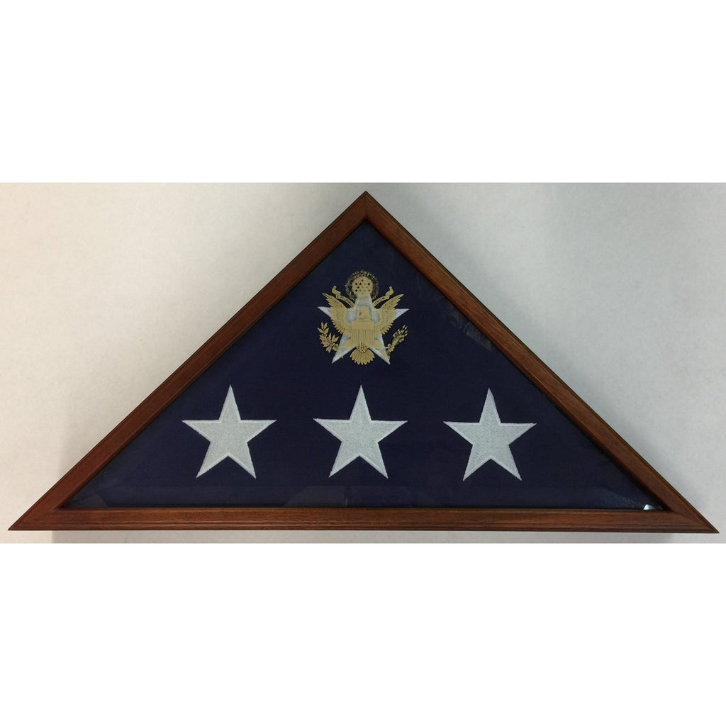 Triangle Wood Display Case with Beveled-Glass for Burial Casket 5x9 1/2ft Flag - Cherry - 1