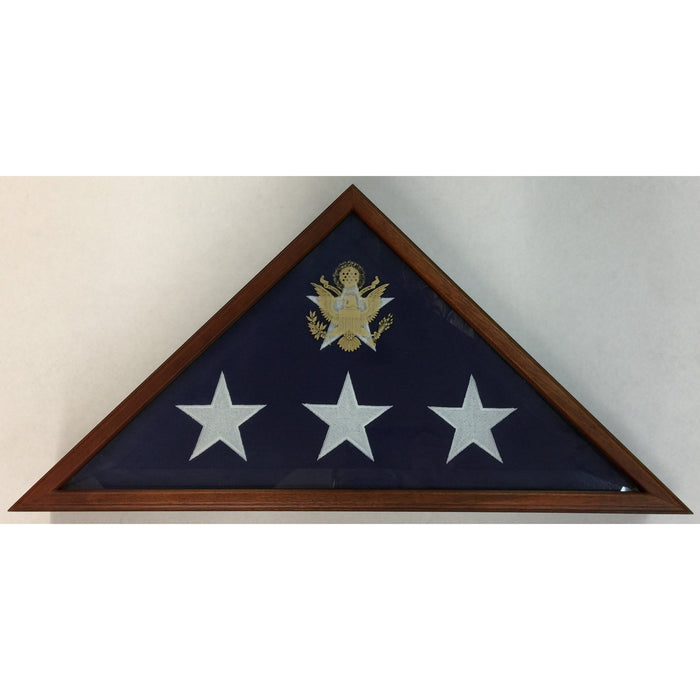Triangle Wood Display Case with Beveled-Glass for Burial Casket 5x9 1/2ft Flag - Cherry