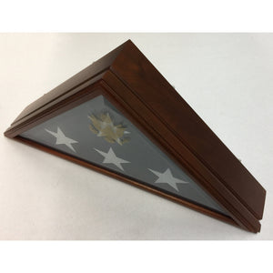 Triangle Wood Display Case with Beveled-Glass for Burial Casket 5x9 1/2ft Flag - Cherry - 2