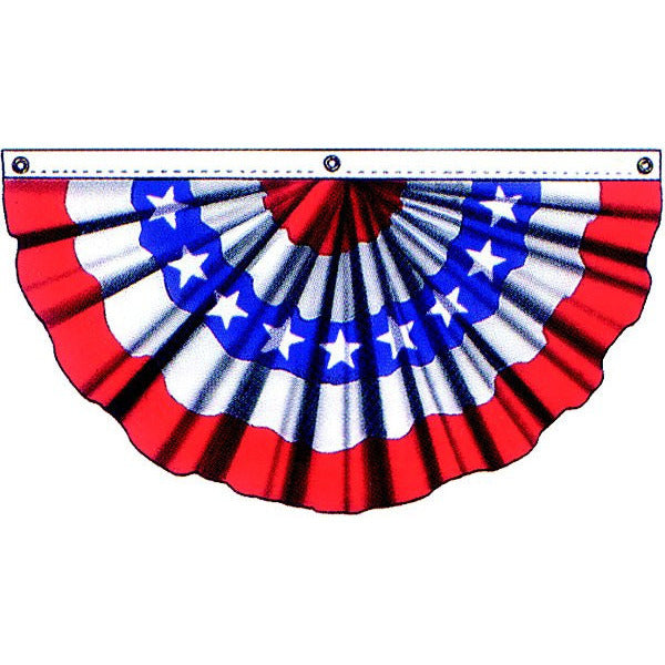 Pleated Fan 1.5x3' R/W/B with Stars - Cotton