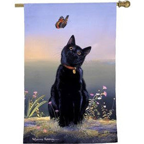 Cat & Butterfly - House Flag
