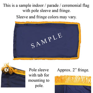 Indoor parade ceremondial flag sample