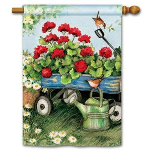 Geraniums By The Dozen - Garden Flag