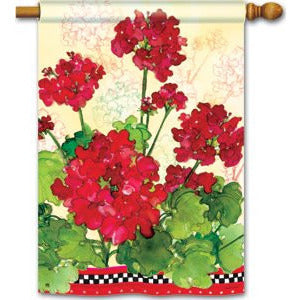 Geraniums & Checks - House Flag