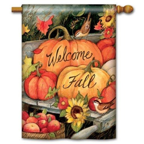 Welcome Fall Pumpkins - House Flag