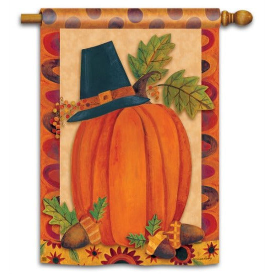 Pilgrim Pumpkin - House Flag - FlagsOnline.com by CRW Flags Inc.