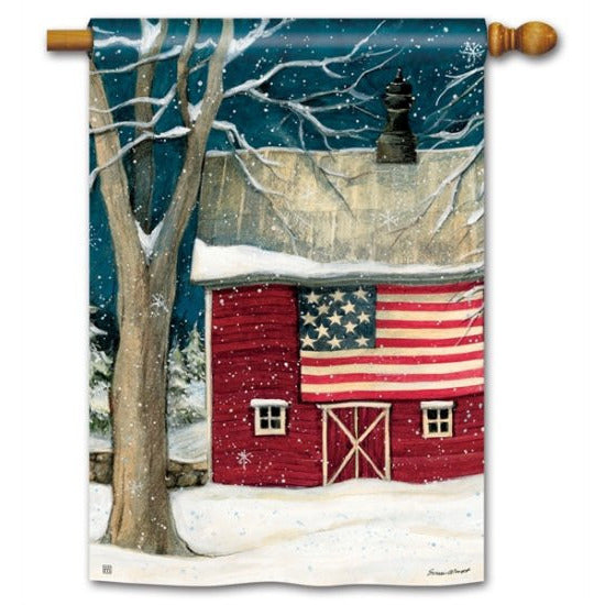 Winter Barn - House Flag - FlagsOnline.com by CRW Flags Inc.
