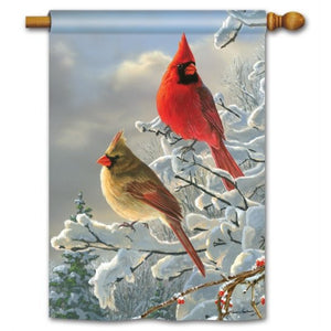 Winter Cardinals - House Flag - FlagsOnline.com by CRW Flags Inc.