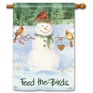 Snowman Bird Feeder - Garden Flag