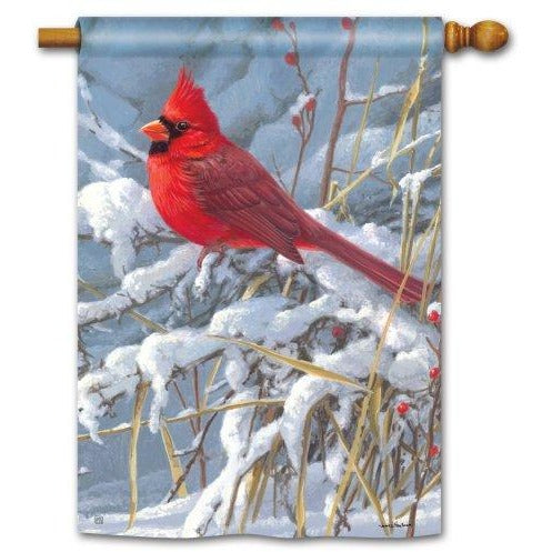 Cardinal In Snow - House Flag