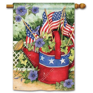 Patriotic Watering Can - Garden Flag