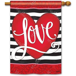Heart w/ Stripe - Garden Flag