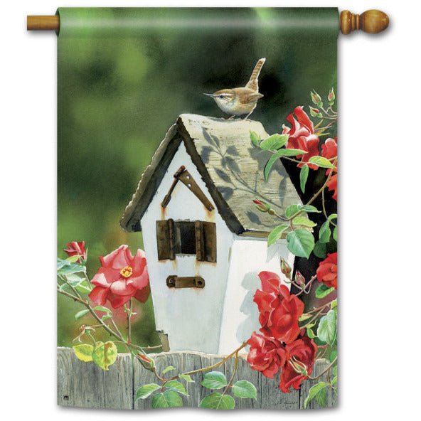 Rose Cottage Wrens - Garden Flag - FlagsOnline.com by CRW Flags Inc.