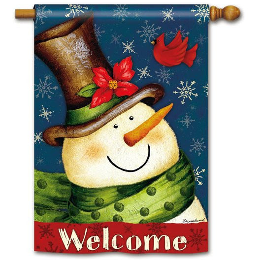 Welcome Snowman - House Flag - FlagsOnline.com by CRW Flags Inc.