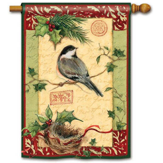 Holiday Chickadee - House Flag - FlagsOnline.com by CRW Flags Inc.