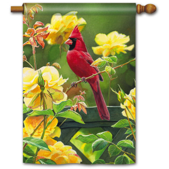 Rose Garden Cardinal - Garden Flag - FlagsOnline.com by CRW Flags Inc.