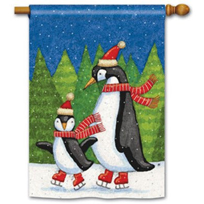 Penguins On Ice - House Flag - FlagsOnline.com by CRW Flags Inc.