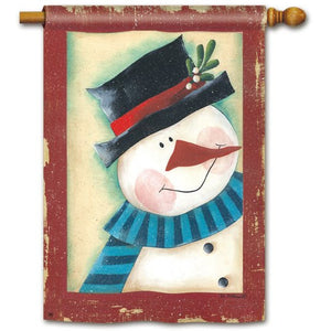 Peeking Snowman - House Flag - FlagsOnline.com by CRW Flags Inc.