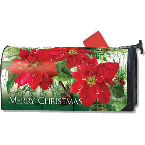 Christmas Poinsettias Standard Mailbox Cover