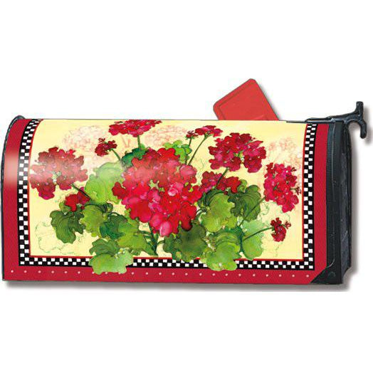Geraniums & Checks Standard Mailbox Cover