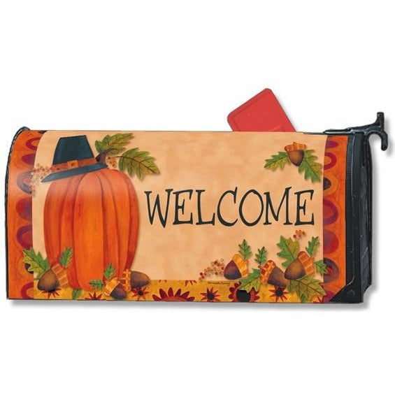 Pilgrim Pumpkin Standard Mailbox Cover - FlagsOnline.com by CRW Flags Inc.
