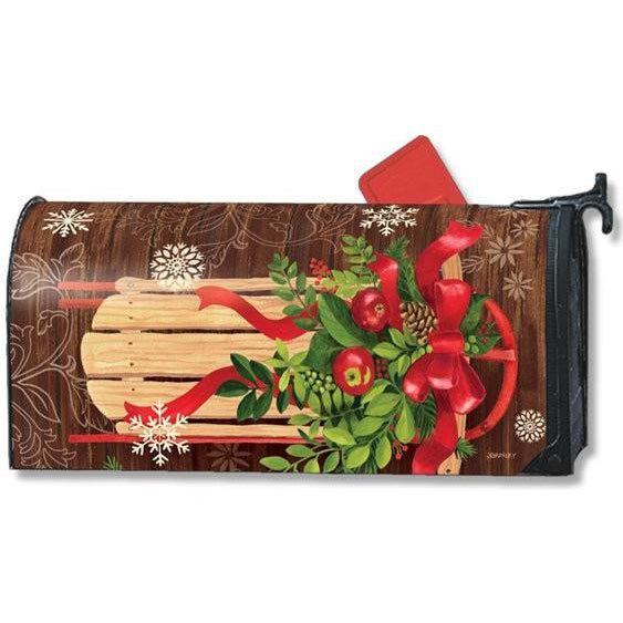 Mountain Cabin Sled Standard Mailbox Cover