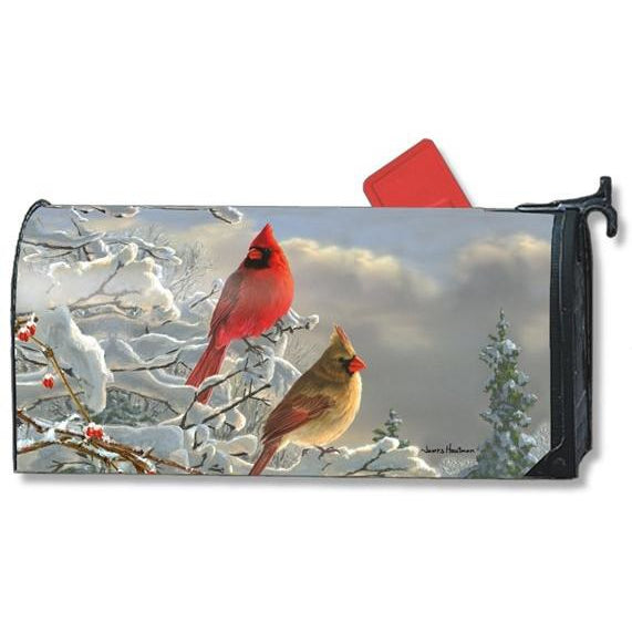 Winter Cardinals Standard Mailbox Cover - FlagsOnline.com by CRW Flags Inc.