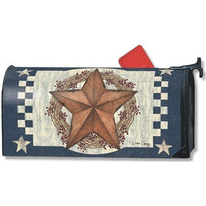 Blue Barn Star Standard Mailbox Cover - FlagsOnline.com by CRW Flags Inc.