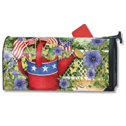 Patriotic Watering Can Standard Mailbox Cover