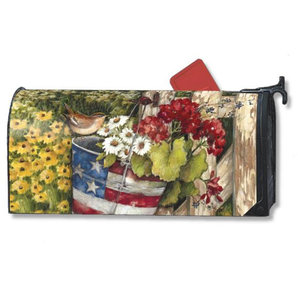 Patriotic Pail Standard Mailbox Cover
