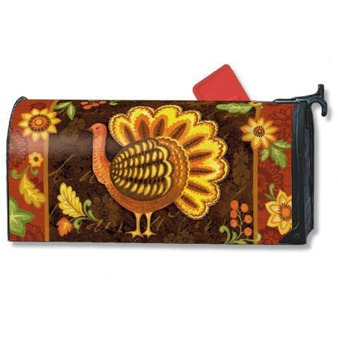 Folk Turkey Standard Mailbox Cover