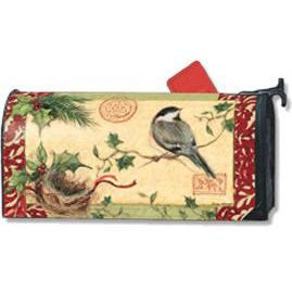 Holiday Chickadee Standard Mailbox Cover