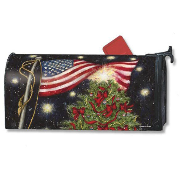 Patriotic Christmas Standard Mailbox Cover - FlagsOnline.com by CRW Flags Inc.