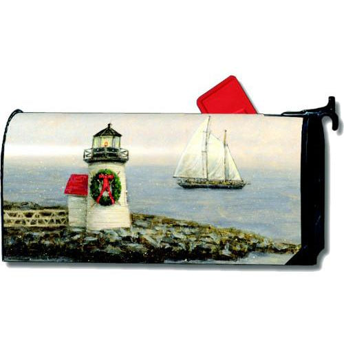 Lighthouse Wreath Standard Mailbox Cover - FlagsOnline.com by CRW Flags Inc.
